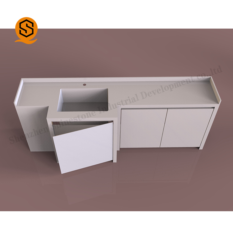 Corians acrylic solid surface bathroom sink wash basin cabinet set for distributor
