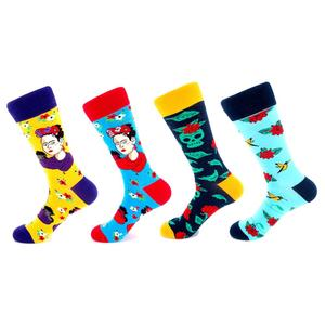 High quality cotton crew happy funny funky happy socks men custom