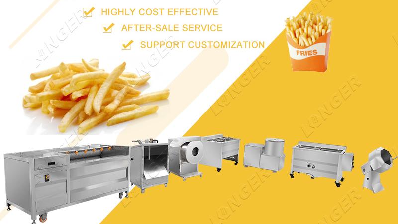 Sıcak Satış Dondurulmuş Patates Parmak Üretim Hattı Fransız Kızartması Üretim Hattı