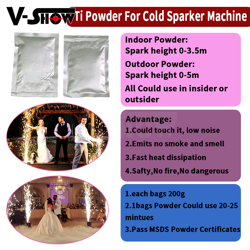 10 Bags 200g Composite Ti Powder for Stage Party Wedding Special Machine Vacuum Packing Use for wedding show Club party