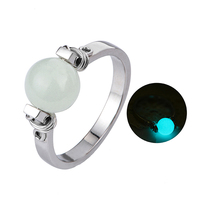 925 Sterling Silver Luminous Stone Glow Ball Ring Fashion Jewelry For Women