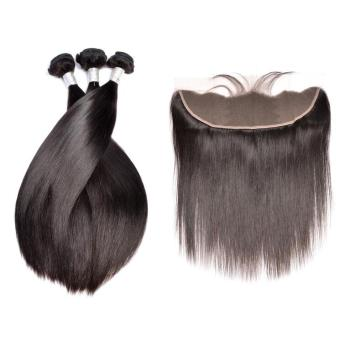 Modern Show Double Drawn Silk Straight Brazilian Human Hair Bundles With Lace Frontal Closure
