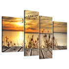 4 Panel Posters Framed Sunset Ocean Seascape Pictures Digital Canvas Prints Painting Wall Art