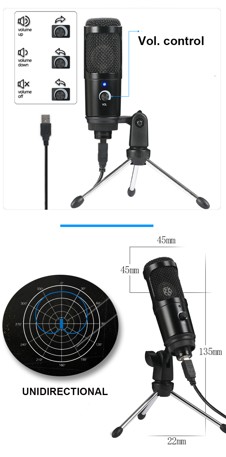 VIDEO Youtuber use podcast USB high quality recording electret condenser microphone