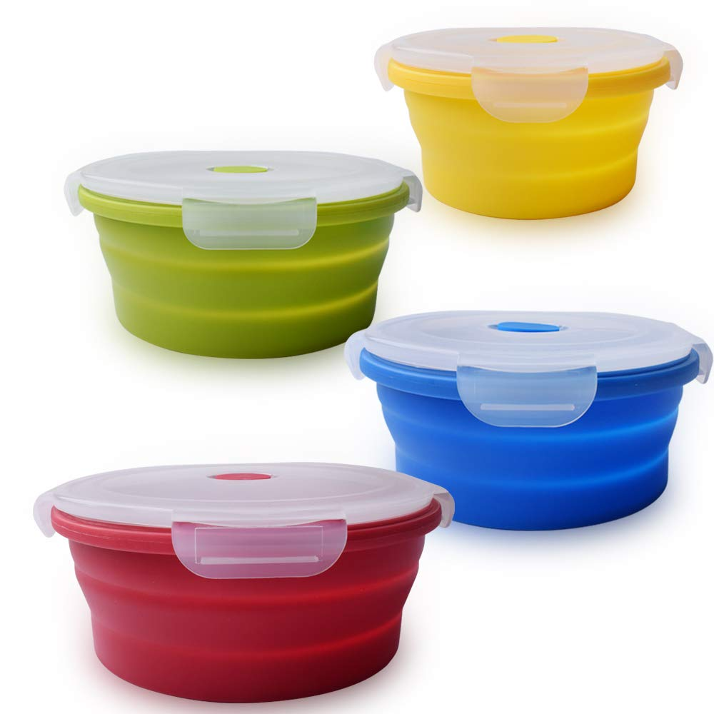 Reusable Square Silicone Collapsible Bento Food Storage Lunch Box With Lid Set of 4 Kitchen Food Grade Storage Containers