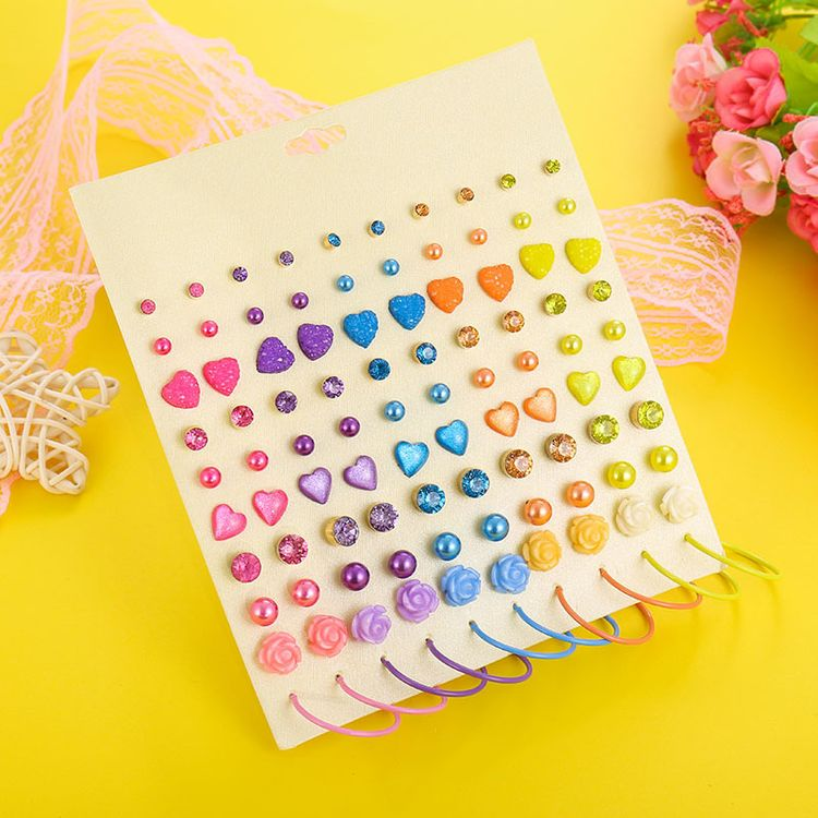 New Arrival Korea Style Small Pearl Earrings Set Fashion Wild Cute Full Diamond Earrings Rainbow Hoop Rose Stud Earring Set