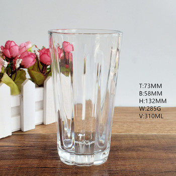 Custom logo Lead-Free Crystal Clear Glass 310ml Drinking glass cup for Water,Juice, Wine, Beer, Cocktails and Mixed Drinks