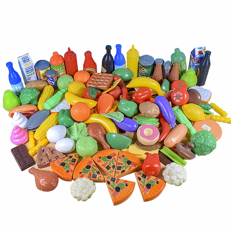Children's Simulation Food Set Baby Fruit And Vegetable Hamburger Cognition 120 Pieces of Kitchen Toys