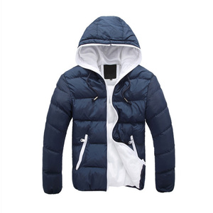 Wholesale Cheapest Outdoor Men's Hooded Winter Down Cotton Padded Puffer Jacket Coat with Zipper for men