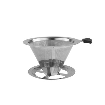 High quality cafe used SS304 coffee dripper stainless steel coffee filter with handle