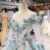 Jancember HTL750 beaded crystal long women sequin lace applique evening dresses