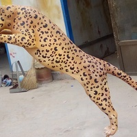 Colored life size metal cheetah statue bronze leopard sculpture ornaments