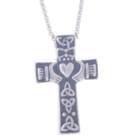 stainless steel memorial celtic cross claddagh urn cremation necklace