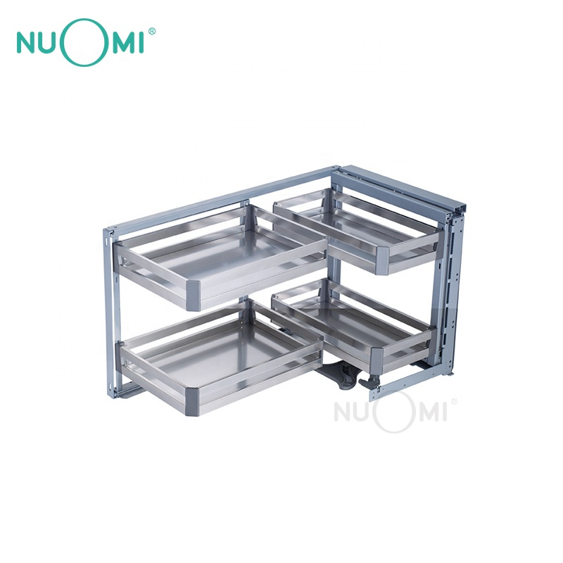 NUOMI Hot Sale Cabinet Pull out Basket revolving saucer Magic Corner Kitchen storage
