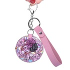 Bling bling Small mirror water diamond car key chain cosmetic mirror key leather ring package pendant gift