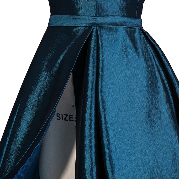 sex long taffeta One Shoulder Special Occasions teen Prom Dresses with slit short dress inside
