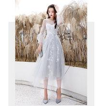 Женское платье с вышивкой It's Yiiya, серое платье для выпускного вечера размера плюс, длинное платье без рукавов с круглым вырезом, LF227(Китай)