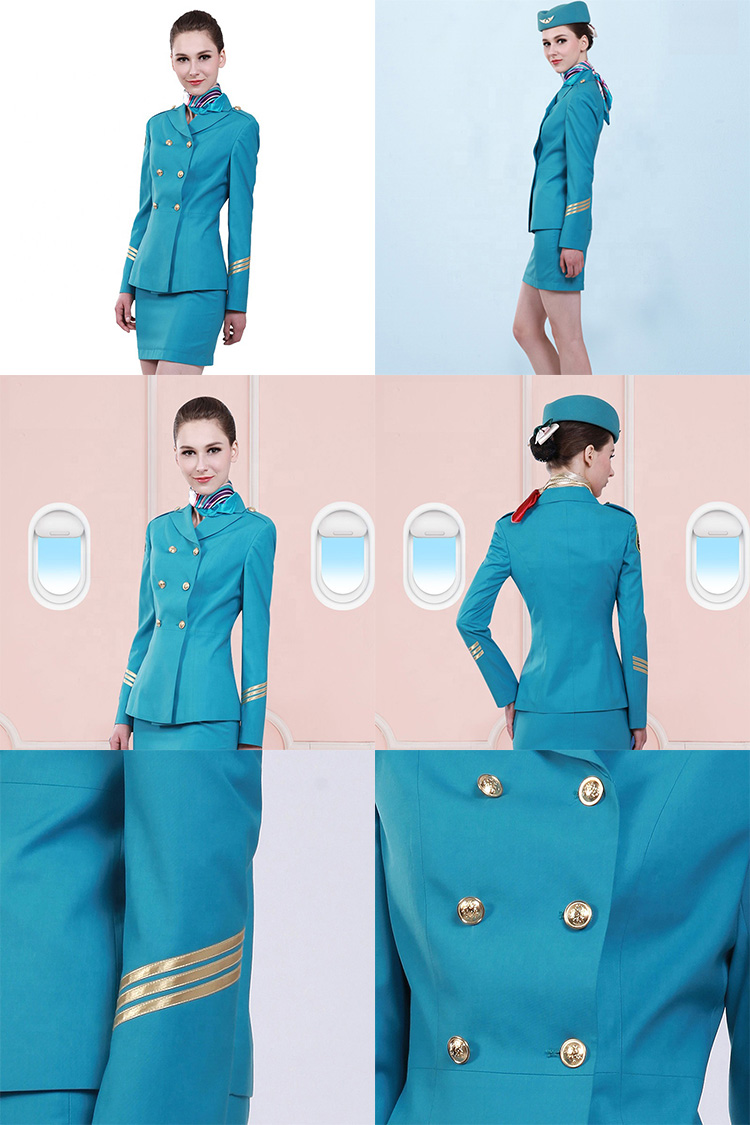 Custom Fashionable Flight Attendant Uniforms Air Asia Airhostess Suits For Sale