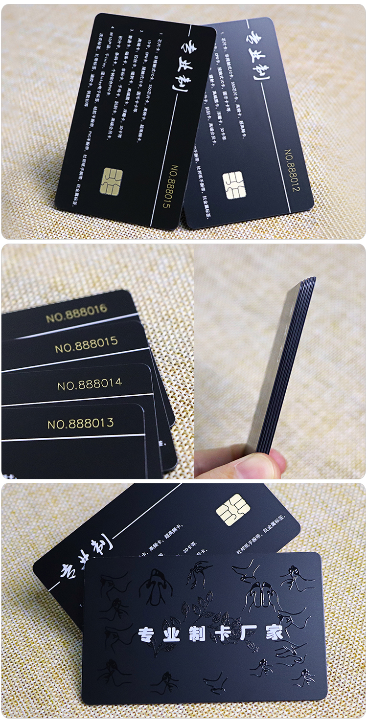 Unique Spot UV Varnishing Black PVC Smart Chip Card Printing With Laser Code