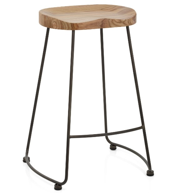 Factory Kitchen Metal Leg Wooden Seat