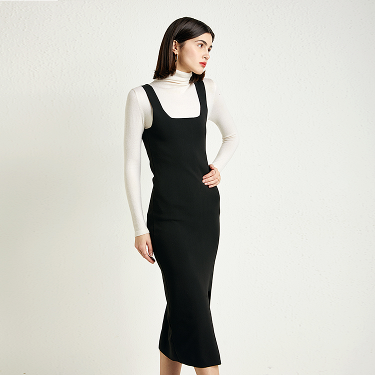 2020 New Arrival Women Fashion Casual Dress Solid Color Knitting Dress