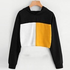 New Coming Long Sleeve Spliced Custom Hoodie Cheap Crop Tops Wholesale Women