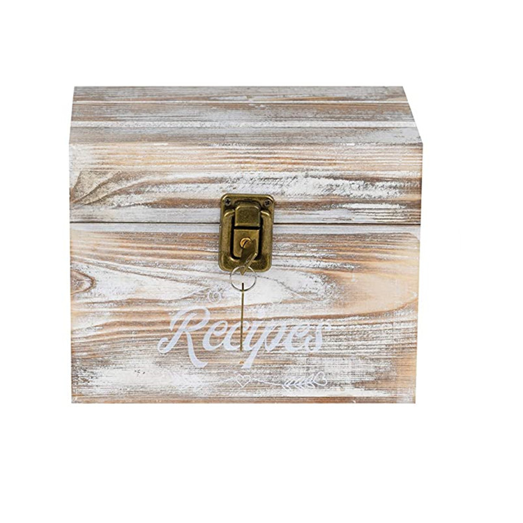 En bois Recette Boîte D'organisation avec Carte et Diviseurs Ferme Décor De Cuisine Boîte De Rangement