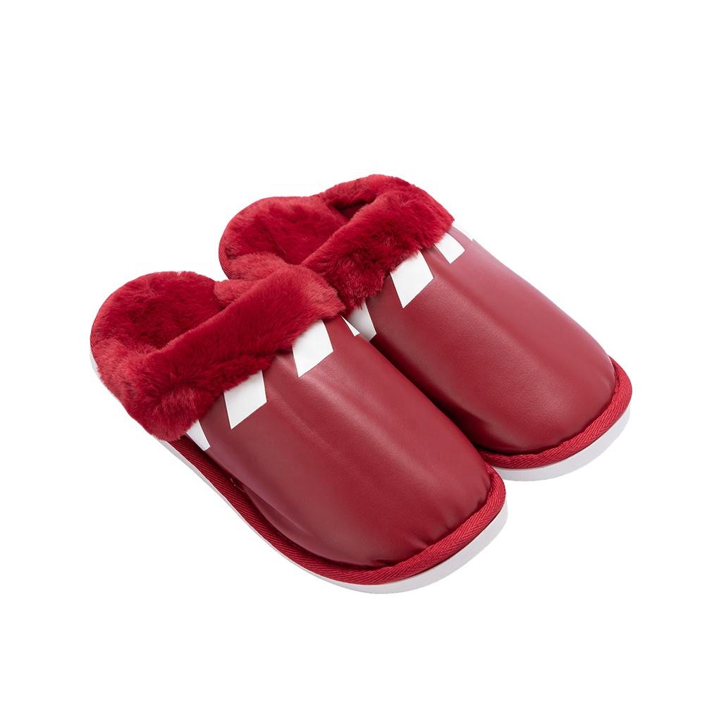 Latest Design Fashion Winter Warm Women Ladies PU Slippers