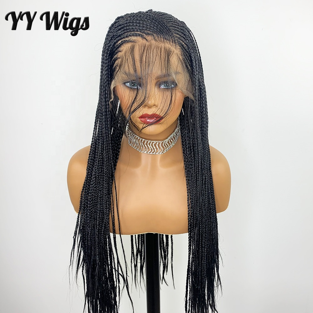 Black Color Braided <strong>Synthetic</strong> <strong>Wigs</strong> for Black Women Lace Front <strong>Wig</strong> 13x6