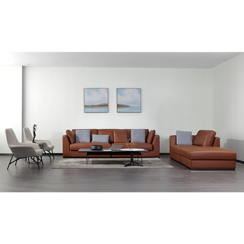 Modern style living room design for genuine leather sofa home furniture
