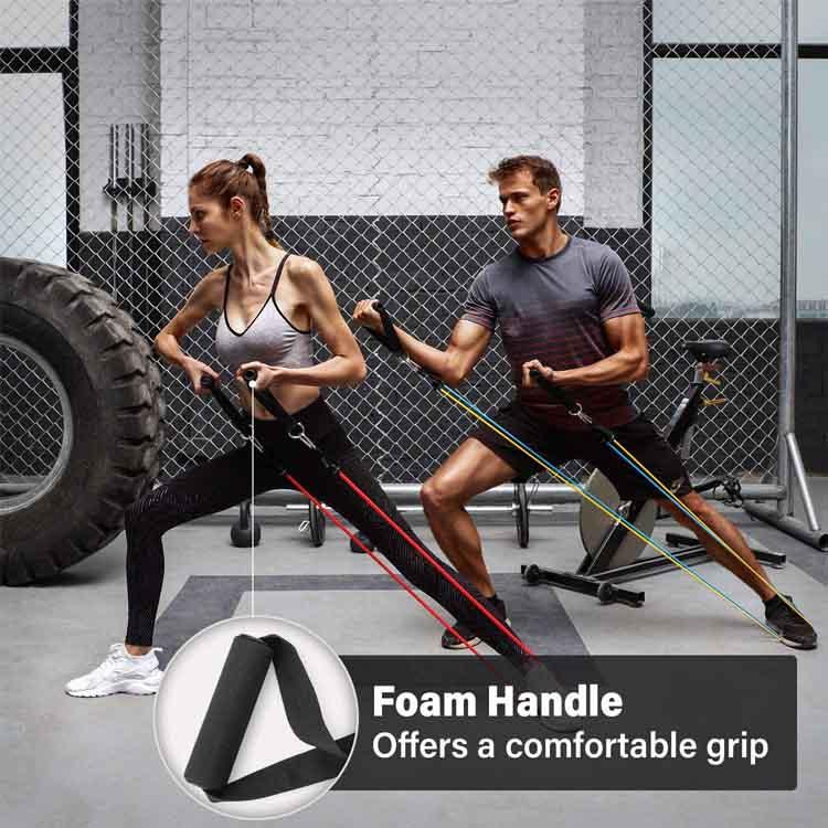 11PCS Set Resistance Bands Tubes Yoga Workout Home Gym Exercise Crossfit Pull UK