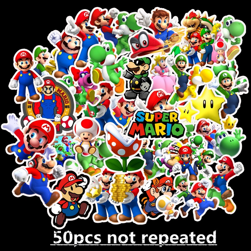 vsco 50pcs Cartoon Waterproof marvel stickers video game super mario anime keyboard stickers for Suitcase DIY Laptop Guitar