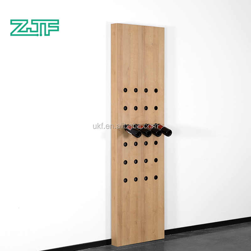 2019 new arrival 24 bottles liquor red wine holder wall mounted wooden display wine rack