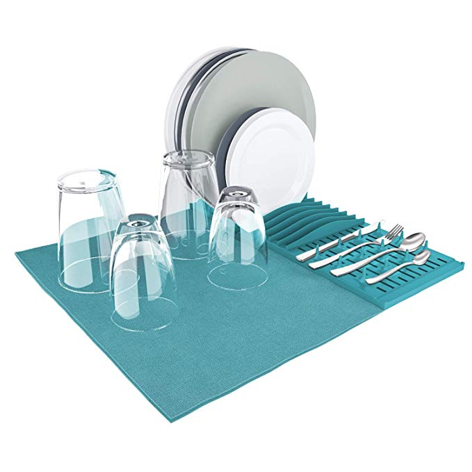 Table foldable kitchen microfiber pp plastic rack dish sink dry drying pad mat with dish stander