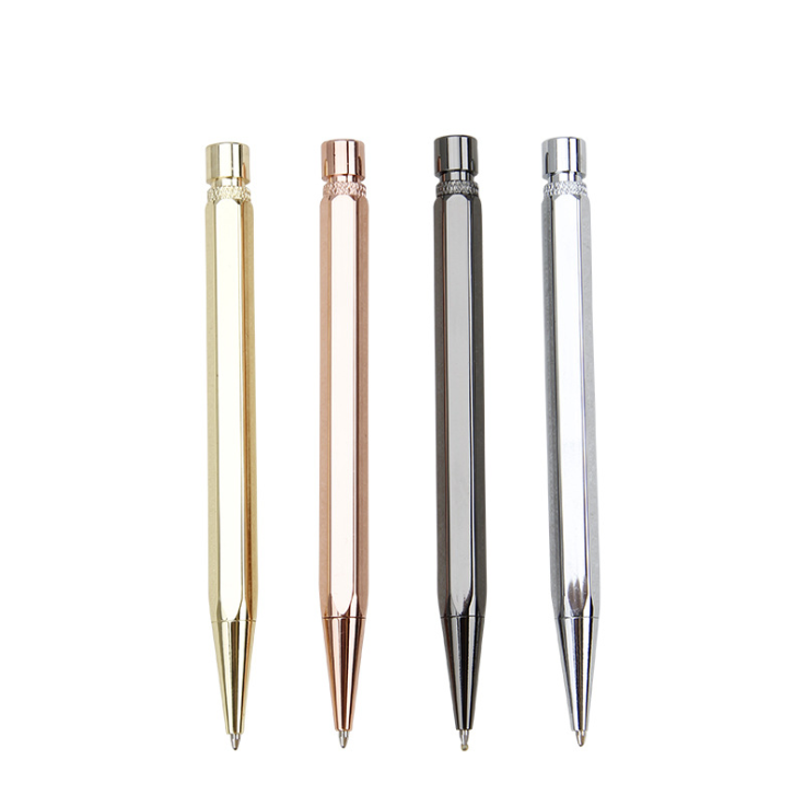Metal gun glossy hexagon click <strong>ballpoint</strong> <strong>pen</strong> no clip design <strong>4</strong> <strong>color</strong> copper ball <strong>pen</strong> manual <strong>pen</strong> for gift