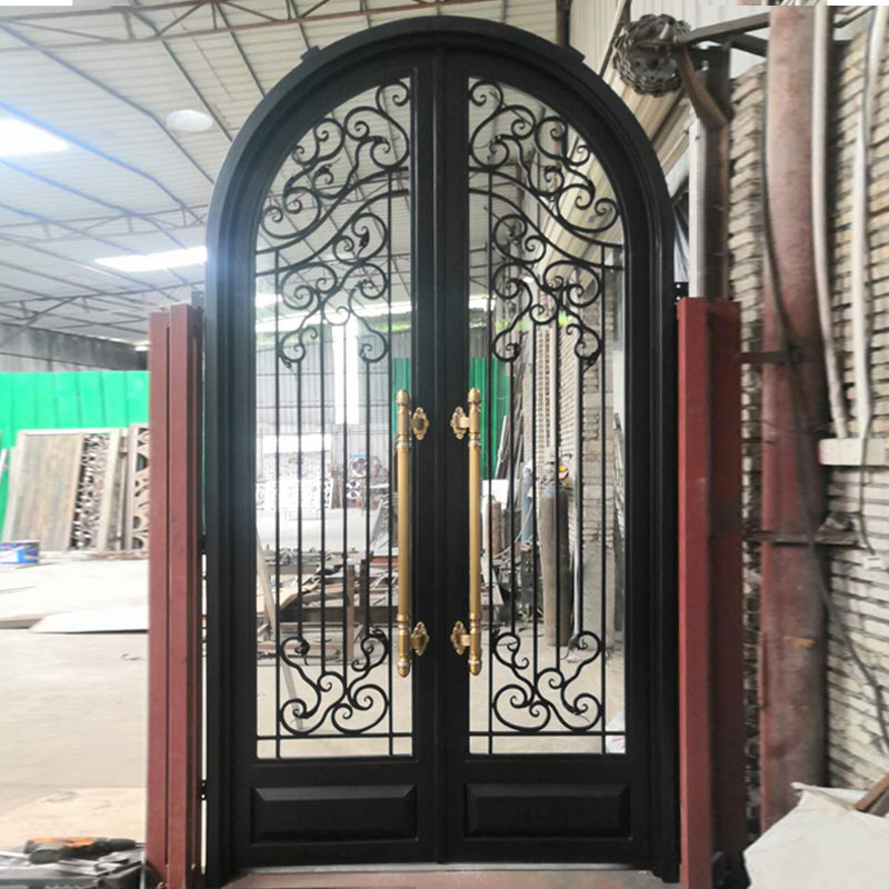 European style building carbon steel framed wrought iron and glass door iron art security door
