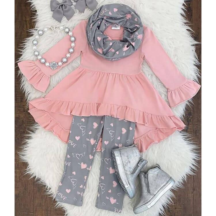 Fashionable 2 Piece Kids Girls Pink Ruffle Blouse Clothing