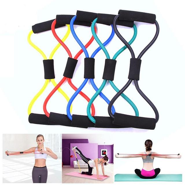yoga Senbos terapia f/ísica - Expansor de pecho con 2 colores entrenamiento de fuerza Bandas de resistencia para ejercicio fitness 8 formas Juego de bandas de gimnasio para mujer en el hogar pilates