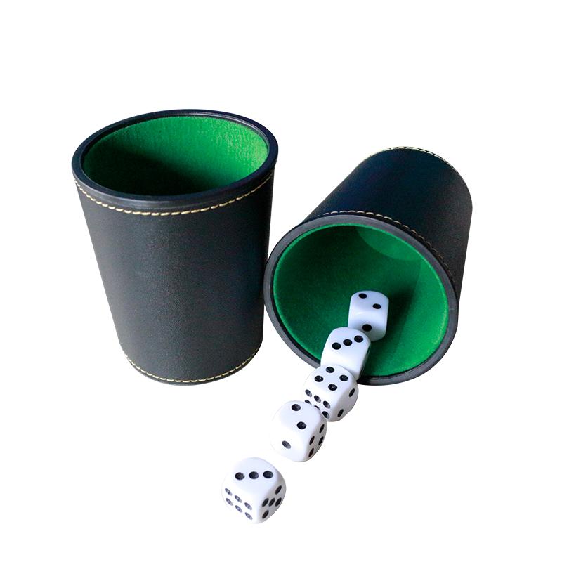 가죽 주사위 컵 보관함 펠트 라이닝 셰이커 포함 5 도트 오지 빙고/Farkle/크랩/주사위/바