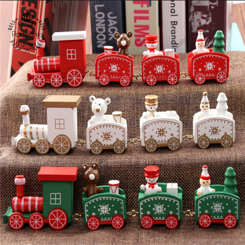 Christmas Train Painted Wood Christmas Decoration for Home with Santa / bear Xmas kid toys gift ornament navidad new year Gift