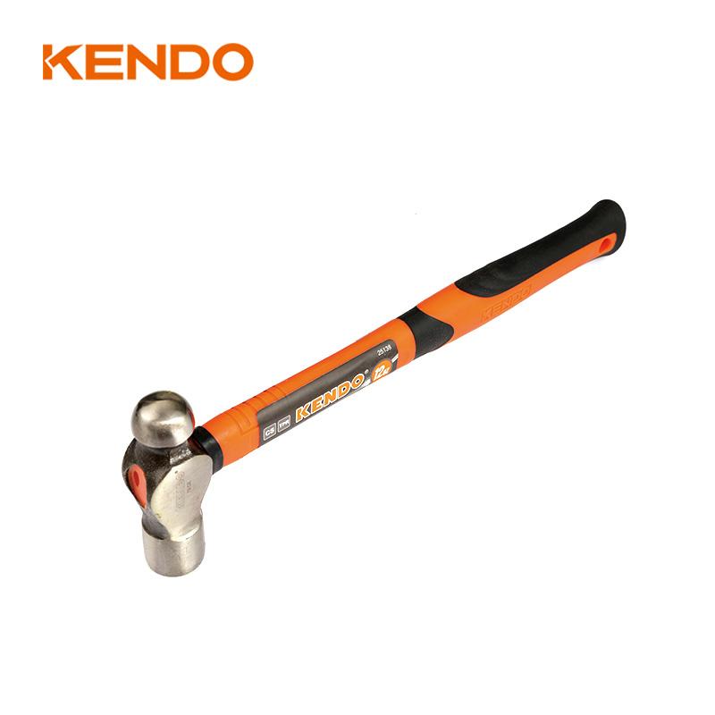 KENDO Ergonomic Comfortable Metalworking Tool Fiberglass Handle ball peen hammer for sale