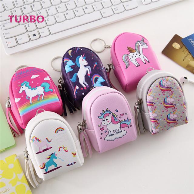 Online-shop Yiwu hohe Qualität und günstige preis mini rucksack geformt einhorn geldbörse leder schlüsselbund tasche für frauen großhandel