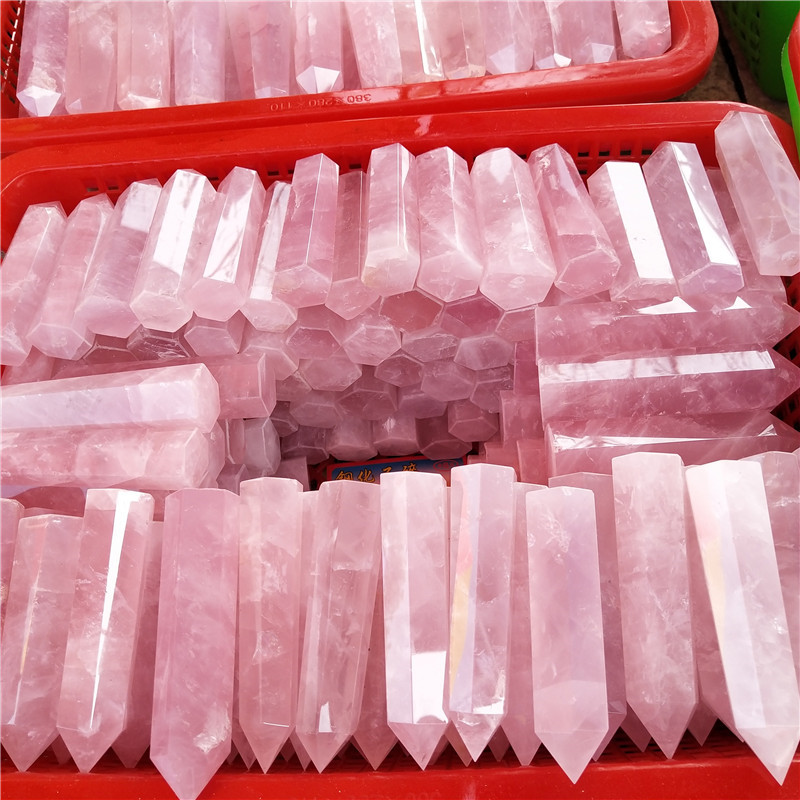 Wholesale High Quality Natural Pink Rose Quartz Obelisk Healing Crystal Terminated Points Stone Tower Wands