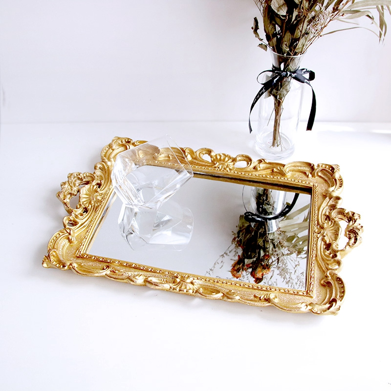 European Resin Jewelry Earrings Necklace Flower Mirror Storage Tray Home Decoration