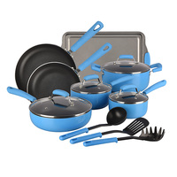 Marine China Blue Long-Lasting 14-Piece Aluminum Non Stick Cookware Set