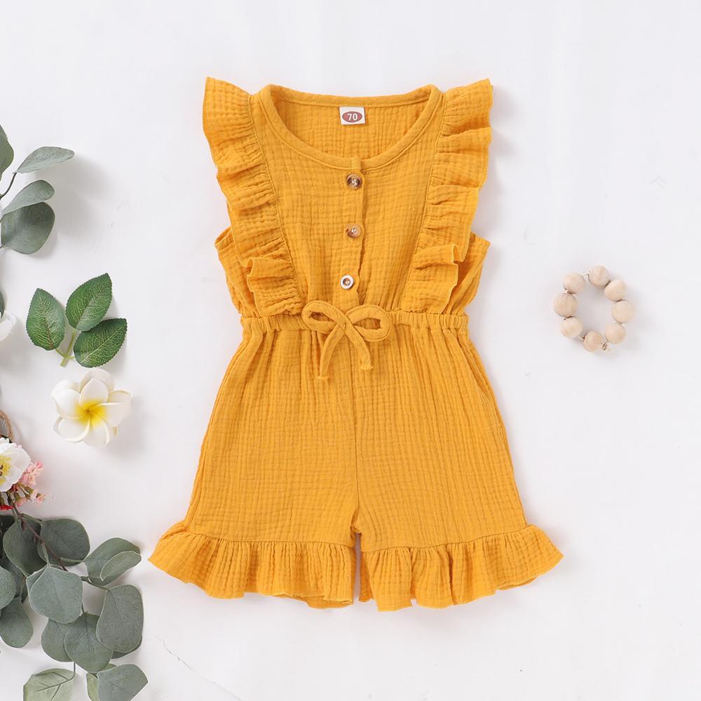 2020 Zomer Katoenen Kleding Pasgeboren Baby Meisje Ruche Bodysuits Mouwloze Romper Knop Effen Kleur Jumpsuit Outfit Kleding