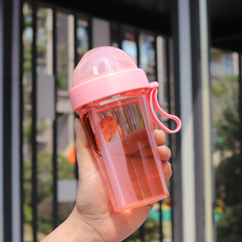 Creative Double Drink Dual-use Water Bottle Personality Girl Student Leak Proof Portable Drinking Cup.