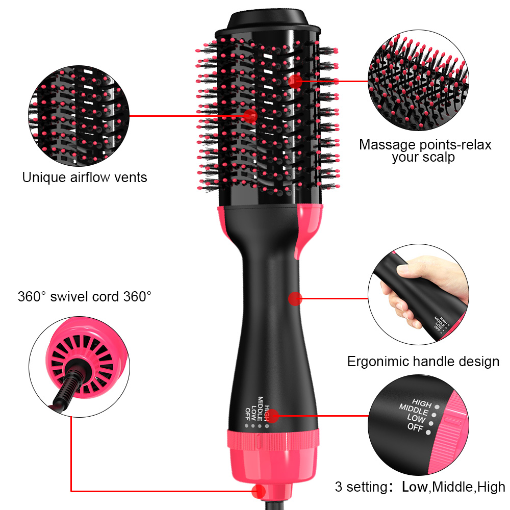 1000w Hot Air Blow Dryer Brush Professional Straightener Comb Electric Blow Dryer for styling and drying