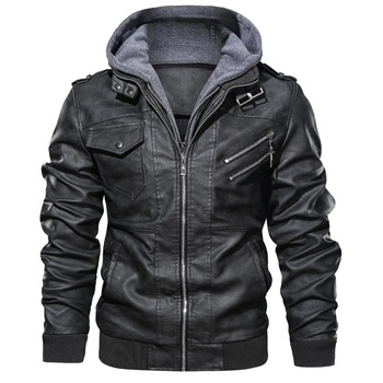 2020 Latest Design custom fashion winter parka men's leather pu slim jacket with hoodie