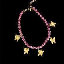 2020 Стразы кубинские звенья браслеты для женщин Богемия бабочка ножной браслет на ногу цепь Винтажные Ювелирные изделия Аксессуары Pulseira(Китай)